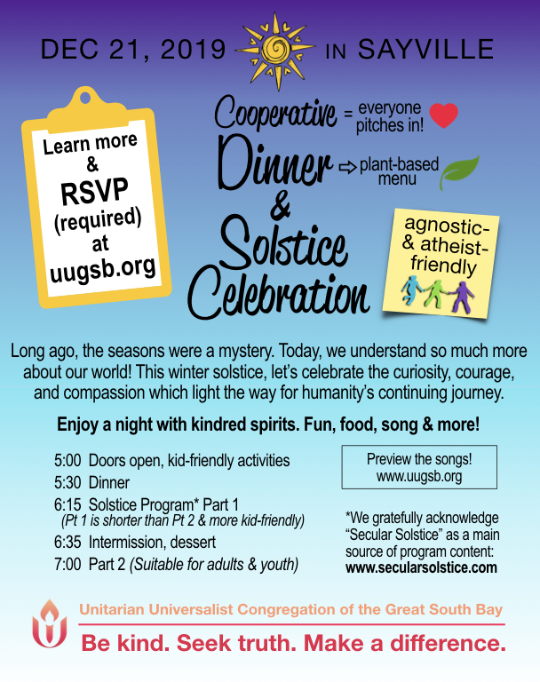 flyer for Cooperative Dinner & Solstice Celebration happening on December 21, 2019